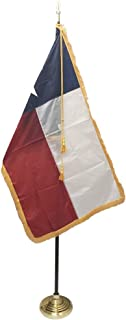 product image for 3x5' Texas Flag Indoor Flag Set, Includes Indoor Flag, Flag Spreader, Pole, Base, Spear Finial and Decorative Cord and Tassel