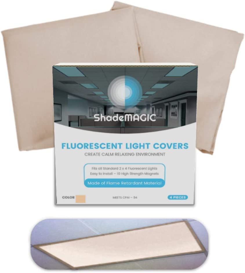 ShadeMAGIC Fluorescent Light Filter Covers - Mocha - Diffuser Pack; Eliminate Harsh Glare That Causes Eyestrain and Head Strain The The Classroom or at Office. (2)