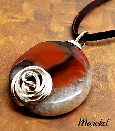 Red Agate Disc Necklace Silver Wire Rosette