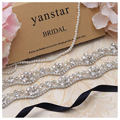 Yanstar Silver Rhinestone Crystal Pearls Wedding Bridal Belts With Navy Ribbon Sashes For Bridal Bridesmaid Gowns