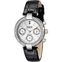 Burgi Women's BUR129SS Diamond & Crystal Accented Multifunction Silver and Black Leather Strap Watch
