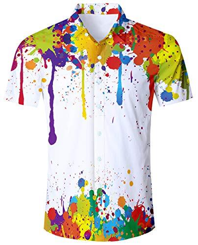 ALISISTER Hawaiian Tshirts Men Plus Size Shirts 90S Aloha Dress Shirt Button Down Short Sleeve Blouse 3D Painting Tropical Bathwear -