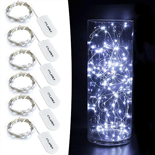 CYLAPEX 6 Pack Cool White Fairy String Lights Battery Operated Fairy Lights Firefly Lights LED Starry String Lights 3.3ft 20 LEDs Silvery Copper Wire for Christmas DIY Decoration Costume Wedding Party -