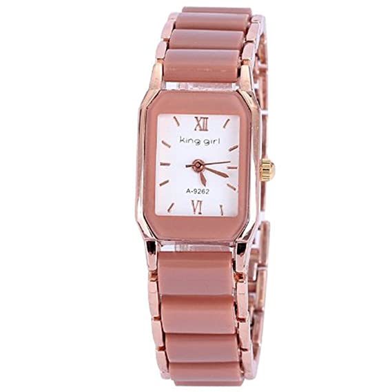 Gullor Rose Gold Plated Reloj Mujer Ceramic Women Dress Watches Luxury Fashion for Ladies - Brown