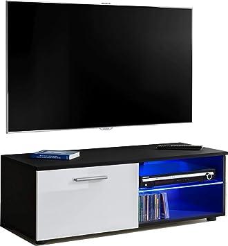 ExtremeFurniture T32-100 Mueble para TV, Carcasa en Negro Mate/Frente en Blanco Alto Brillo + LED Azul: Amazon.es: Electrónica