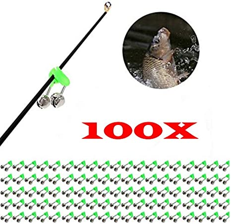 100x Outdoor Rod Tip Fishing Clip Twin Ring Bite Alarm Bells Tackle Accessory