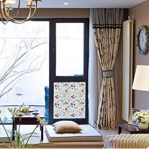 """YOLIYANA The Non-Toxic Window Film Waterproof Antifouling Anemone Flower Vintage Bouquets Bridal Corsage Design Shabby Leaves Ranunculus Blossoms Decorative for Home Moving Glass Doors 17"""" 24"""" 64"""