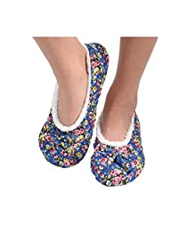 Snoozies Womens Quilted Ballerina Comfort Split Slipper Socks