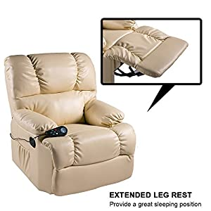 Merax Massage Recliner Chair Living Room Sofa, PU Leather Upholstery / 8 Vibration Motors / 4 Massage Zones / Adjustable Intensity