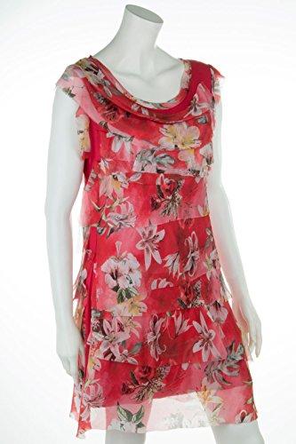 Cara 40 Seide Figurbetont Sommerkleid für mit Damen 36 Leichtes Rot Mia 38 Blumen PwxYUqRrP