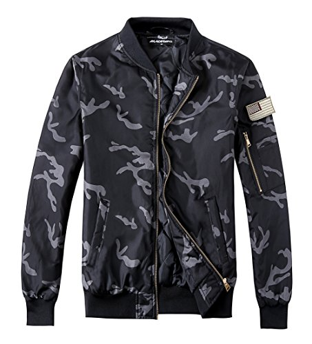 MADHERO Men's Padded Flight Jacket Lightweight Quilted Coat with Patches Color Camo BlackSize L