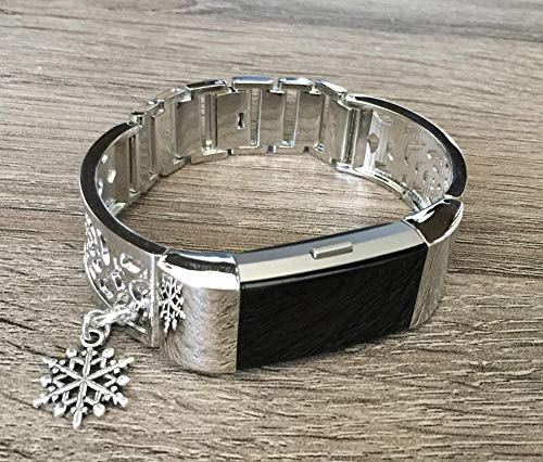 Silver Metal Band For Fitbit Charge 2 Heart Rate Fitness Tracker Flowers Design Jewelry Fitbit Charge 2 Replacement Accessory Bracelet With Silver Snowflake Charm Adjustable Bangle