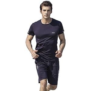 「在庫処分」「約半額 お早めに」ジョギングウェア メンズ トレーニングウェア 上下 2点セット 半袖 シャツ ハーフパンツ スポーツウェア 軽量 通気 吸汗 速乾 紺色