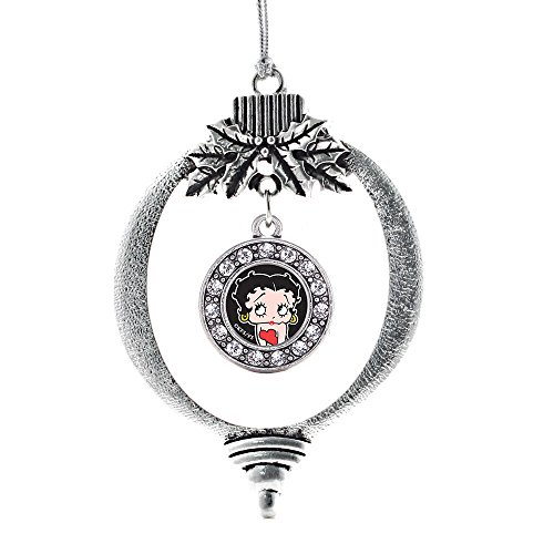 Inspired Silver - Betty Boop Charm Ornament - Silver Circle Charm Holiday Ornaments with Cubic Zirconia Jewelry Betty Boop Christmas Ornament