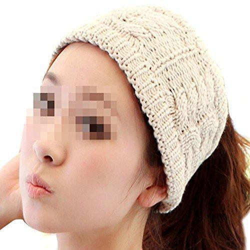 JOVANA Winter Warm Twist knitting wool hat headgear Women & Ladies Korea Knit Crochet flora Twist Style Headband Head Wrap (Ivory)