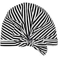 SODIAL Luxury Shower Cap for Women - Waterproof and Mold Resistant, Reusable Shower Caps (Black and White Stripe)
