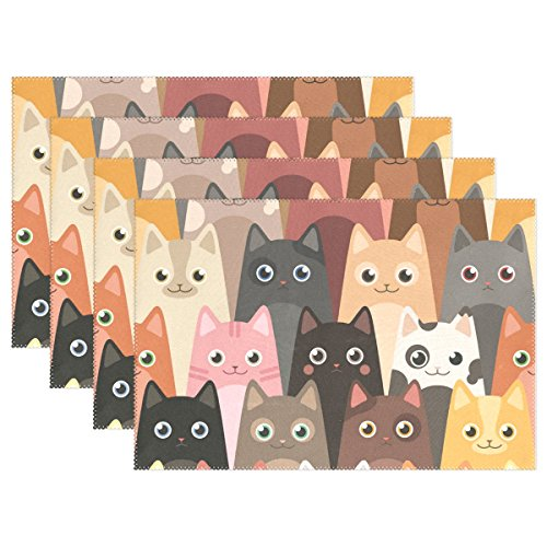 Naanle Cartoon Cat Lovely Animal Placemats Set of 6 Washable Table Mat for Kitchen Dining Table 12 X 18 Inches Place Mats ()