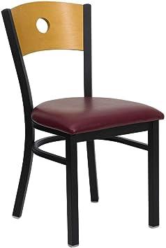 Burgundy Vinyl Seat Flash Furniture 4 Pk HERCULES Series Black Circle Back Metal Restaurant Chair