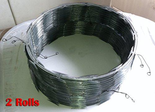 Razor Wire Razor Ribbon Barbed Wire 18'' 50 Feet Per Roll 2 Coils by Fence America