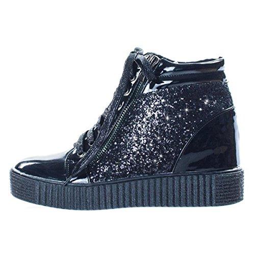 Verkoop Pasen 2018 Metallic Hoge Top Lace-up Wedge Sneakers Voor Vrouwen Tiener Meisjes (assorti Kleuren) Hoge Top Wedge Zwart