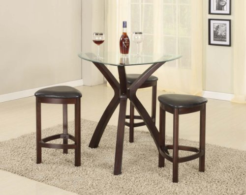 Roundhill Furniture 4-Piece Triangle Solid Wood Bar Table and Stools Set,  Espresso - Triangle Dining Table: Amazon.com