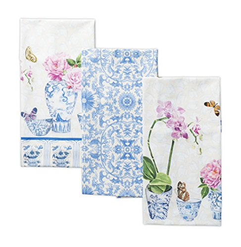Maison d' Hermine Canton 100% Cotton Set of 3 Kitchen Towels 20 Inch by 27.50 Inch 3 Piece Kitchen Tea Towel