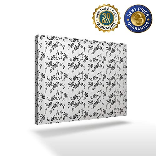 (KAROLA One Panel Wall Art Canvas Modern Home Decor Stretched and Framed Ready to Hang Framed Art for Bedroom Living Room,Black Rattan Floral 30