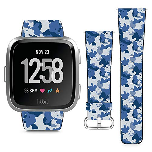 Compatible with Fitbit Versa // Leather Replacement Bracelet Strap Wristband with Quick Release Pins // Blue Camo ()