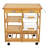 Cirocco 4 Tier Pine Wood Kitchen Island on Wheel - Wooden Side Cart Trolley Counter Top Table w/Storage Drawer Basket Shelve Wine Rack | Heavy Duty Steady for Organize Kitchenware Dining Food Prepare