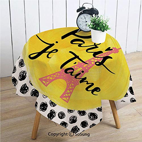 Paris City Decor Square Polyester Tablecloth,Eiffel Tower with Paris I Love You Message Polka Dot Background Vintage Art,Dining Room Kitchen Square Table Cover,54W X 54L inches,]()