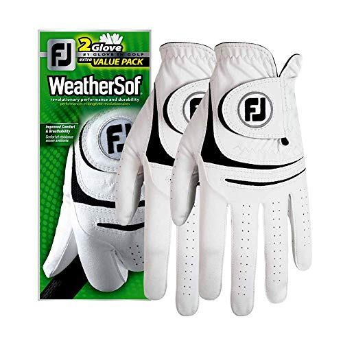New 2017 FootJoy WeatherSof Mens Golf Gloves (2 Pack) (Cadet Medium, Worn on Left Hand)
