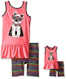 Dollie & Me Girls' Dog Printed Sleeveless Drop Waist Dress with Bike Short Set