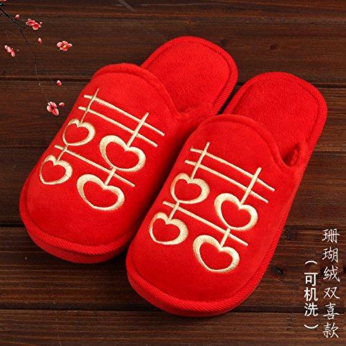 giovane fankou moglie lo marito wedding donne e Estate 38 femmina sposo pantofole sposa 39 cotone rosso e uomini pantofole e BIdwB0qn