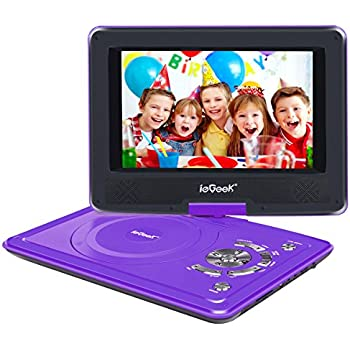 "ieGeek 12.5"" Portable DVD Player with 9.5"" Swivel Flip Screen, 5 Hours Rechargeable Battery, Supports USB/SD Card/Games/Sync To TV, Perfect for Kids and Car Travelling, Purple"