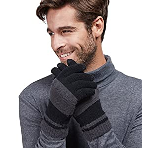 LETHMIK Winter Touchscreen Knit Gloves Mens Warm Wool Lining Texting for Smartphones Light Grey & Black, O/S