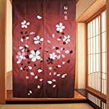 Japanese Sakura Romance Pattern Noren Style Doorway Curtain Bedroom Decoration Curtains Cherry Bloosom