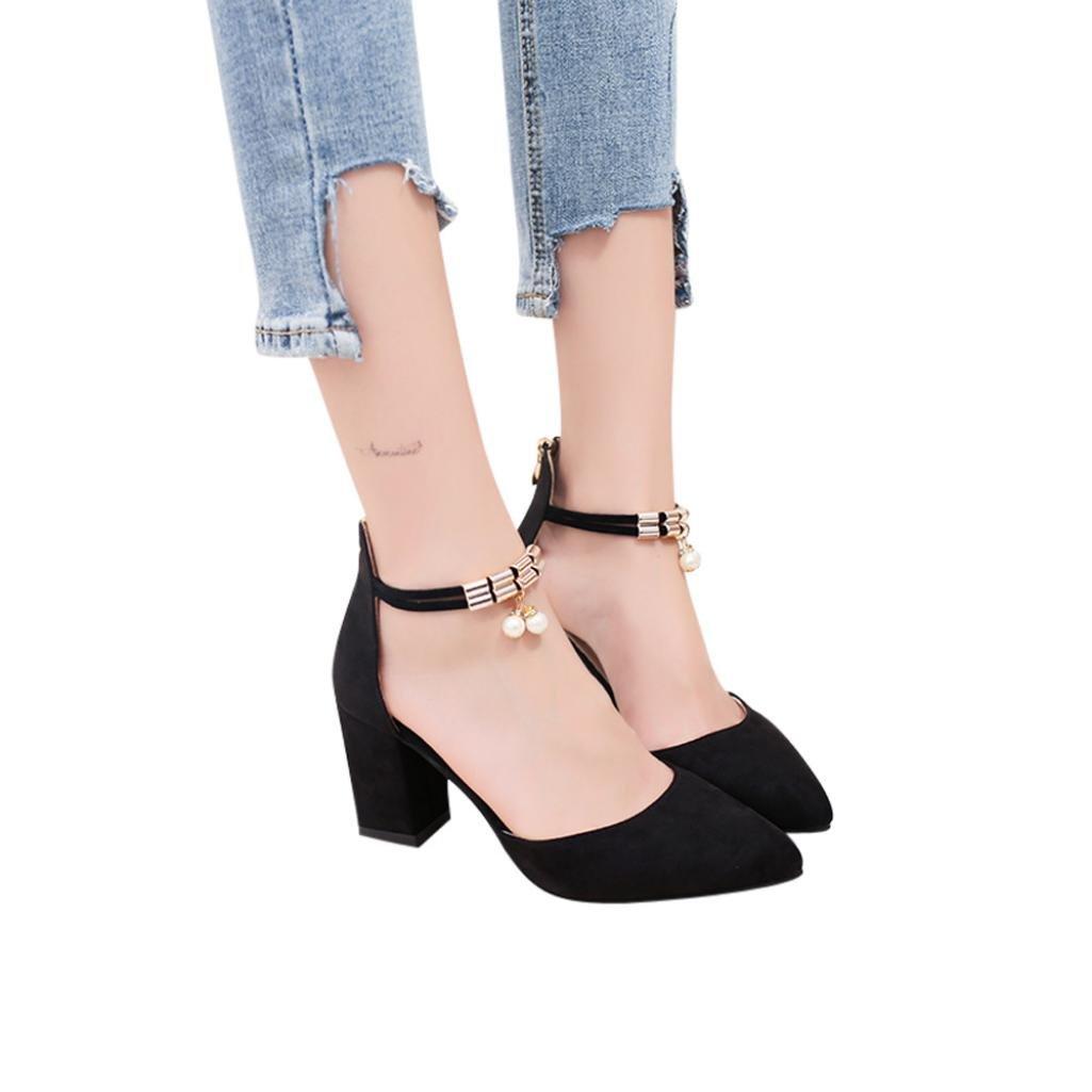 High Heels Wedge Sandals Office Shoes Pointed Toe Rhinestone Wedding Sandals Hemlock (US:6, Black)