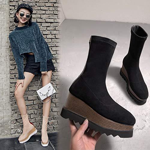 TSNMNB Plataforma de tacón Martin botas botas de terciopelo de cuero botas de esponja fondo más botas de terciopelo de las mujeres cuñas salvajes botas de otoño e invierno, 37, negro (además de tercio