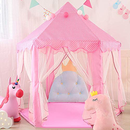 SAVICOS Princess Tent Large Castle Playhouse for Children Indoor and Outdoor Games Hexagon Kids Play Tent (Pink)
