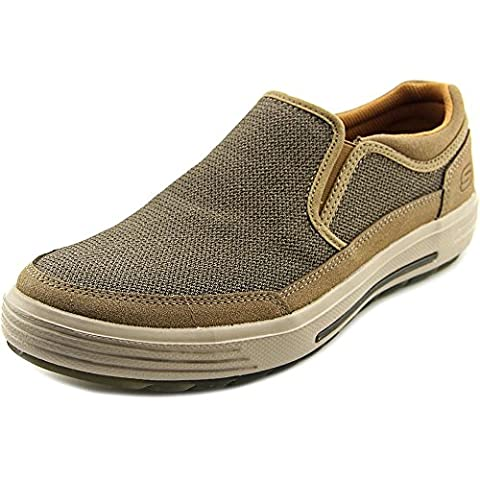 SKECHERS Men's Classic Fit Proter - Vesco Light Brown Mesh/Suede Shoe - Classic Moc Slip