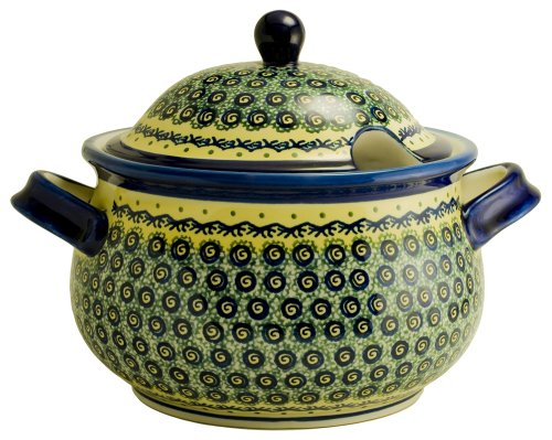Euroquest Imports 1004-DU1 Bunzlauer Polish Pottery 3-Quart Terrine with Lid, Yellow with Blue and Green