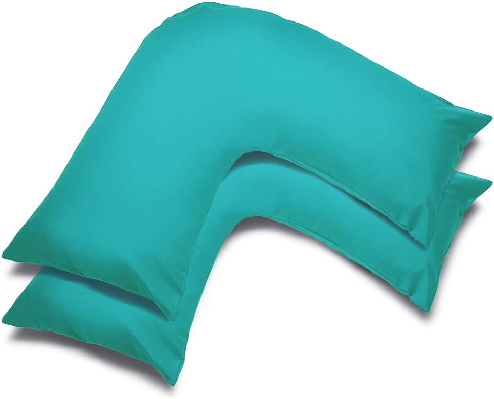 Poly Cotton Plain Dyed V Pillow Covers