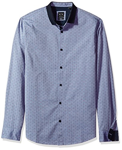 (A|X Armani Exchange Men's Micro Dot Cotton Dobby Long Sleeve Woven, Blue Fill Coupe' RHU)