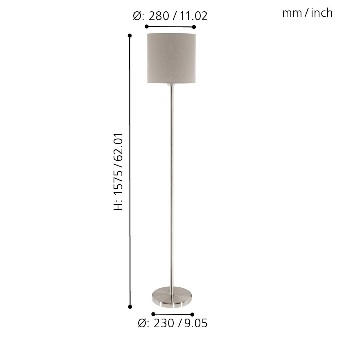 Standleuchte aus Stahl und Stoff EGLO Stehlampe Pasteri 1 flammige Textil Stehleuchte inkl Farbe: Nickel matt Fassung: E27 wei/ß Fu/ßschalter
