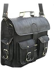 Black leather messenger bags for men women mens briefcase laptop bag best computer shoulder satchel school distressed...