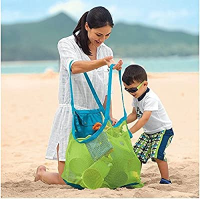 SeaISee Extra Large Family Mesh Beach Bag Tote Backpack Toys Towels Sand Away,Blue