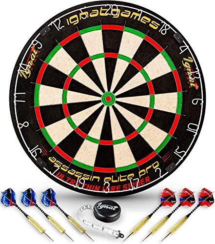 Professional Dart Board Set - Bristle/Sisal Tournament Dartboard with Complete Staple-Free Ultra Thin Wire Spider + 6 Steel Tip Darts + Darts Measuring Tape + Darts Guide (Assassin Elite Pro) (Best Dart Board For The Money)