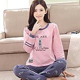 MOXIN Ladies Cotton Pyjamas Long Sleeve Top Set PJs Long Top , M , D