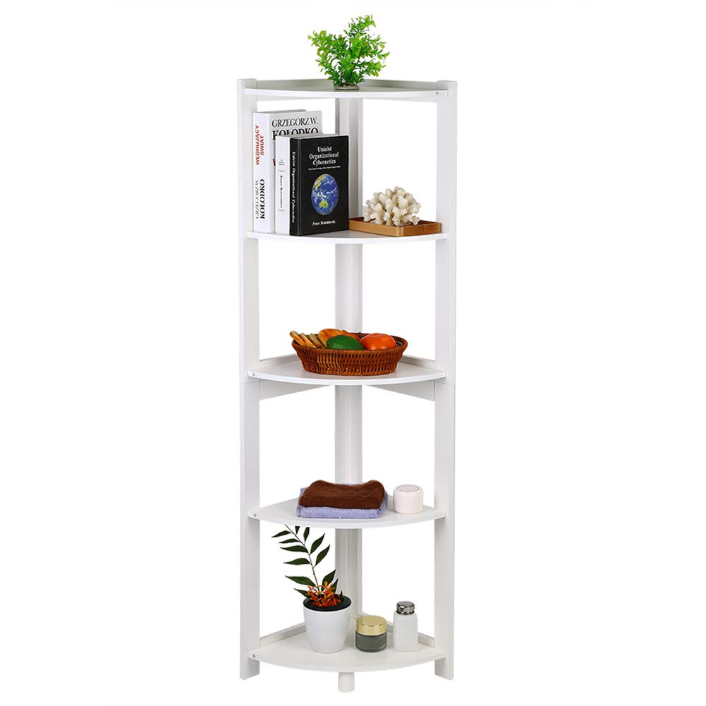 Corner Cabinet Bookcase, 5-Tier Corner Book Shelf Storage Cabinet Book Rack CD Book Rack Organizer Modern Decor