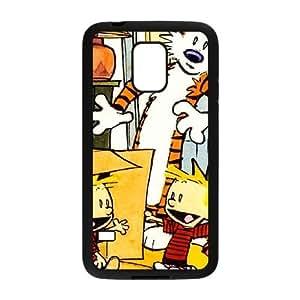 caso de Calvin y Hobbes W6X22G4LF funda Samsung Galaxy Mini funda S5 8VA26G negro